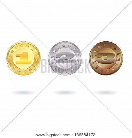 Medals for first, second and third place isolated on white background