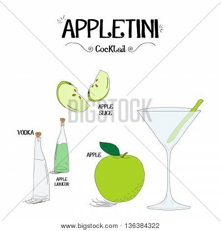 how to make a Appletini cocktail set with ingredients for restaurants and bar business vector illustration