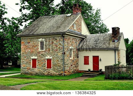 Quarryville Pennsylvania - June 5 2015: Fieldstone home where Robert Fulton the inventor of the steamboat was born on November 14 1765