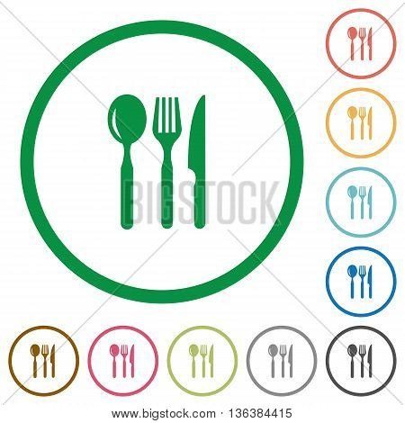Set of Restaurant color round outlined flat icons on white background