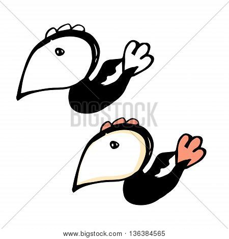 Picture of unusual birds. Set of two drawings of birds on a white background. Abstract image vector
