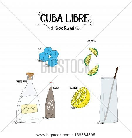 how to make a Cuba Libre cocktail set with ingredients for restaurants and bar business vector illustration