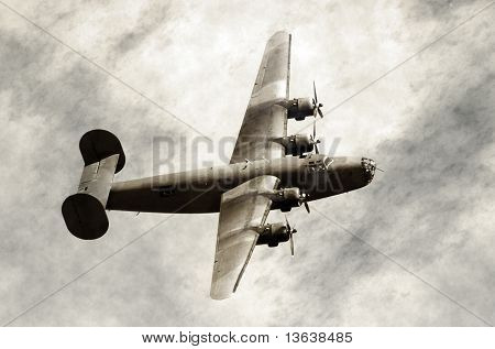 Old Bomber In Flight