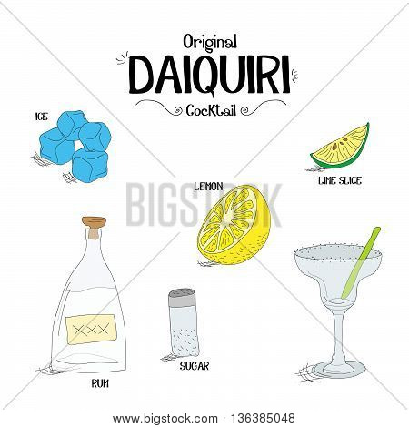 how to make a Original Daiquiri cocktail set with ingredients for restaurants and bar business vector illustration