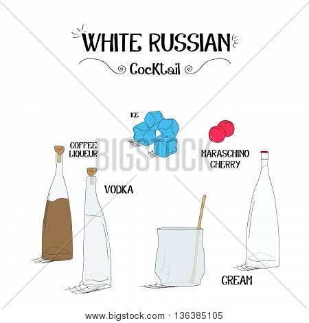 how to make a White Russian cocktail set with ingredients for restaurants and bar business vector illustration