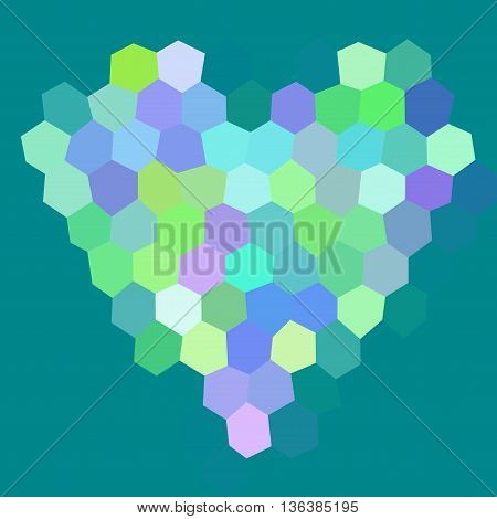 Heart Low Poly Hexagon Style Vector Mosaic Background