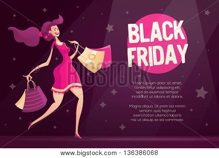 Black Friday flyer, poster template with happy female shopper - modern vector illustration with a female character walking after shopping