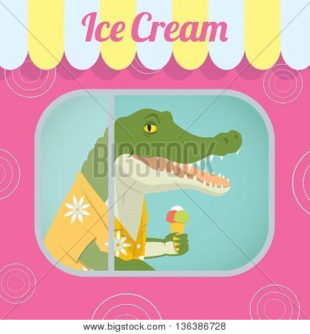 Vector retro illustration of a crocodile in a Aloha shirt standing behind the window inside a trailer selling ice cream. In the eps file you can find the whole crocodile under the clipping mask