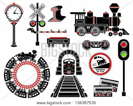 Railroad icons set in simple style isolated on white background. Vector illustration