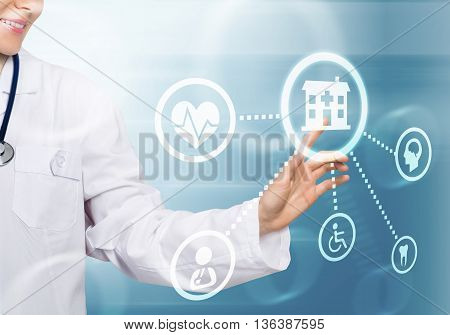 Hand of woman doctor touching icon of media screen