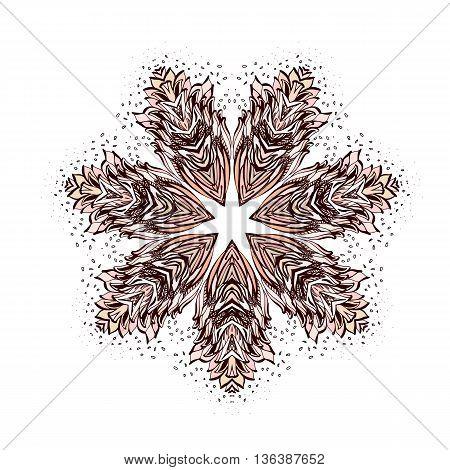 Ornamental Round Floral Pattern. Design Meditation on White