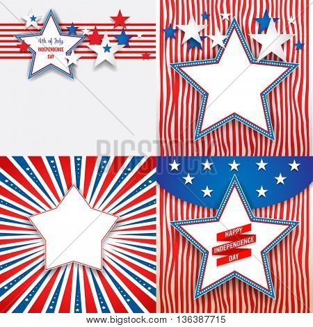 July fourth holiday stars. Independence day card. Holiday template for design banner,ticket, leaflet, card, poster and so on.