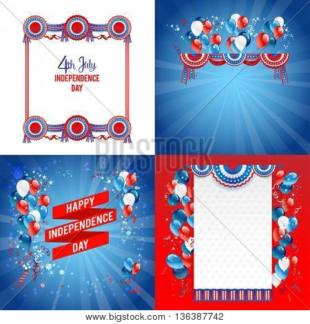 July fourth frames with place for text. Independence day card. Holiday template for design banner,ticket, leaflet, card, poster and so on.