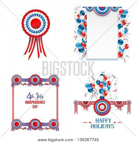 July fourth elements with place for text. Independence day card. Holiday template for design banner,ticket, leaflet, card, poster and so on.