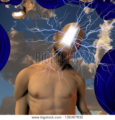 Abstract faceless man with lightning 3D Render