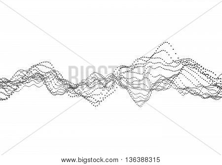 Abstract 3d rendering of waves with particles on white background. Futuristic background with lines of many low poly spheres. Design for poster, cover, banner, placard