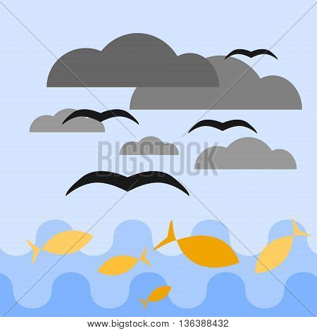 Blue sea and sky. Yellow fish are swimming in the sea. Black birds are flying above them among dark grey clouds. Vector illustration.