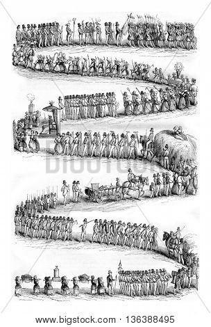Festival of wine growers, Vevey, Head of the procession, vintage engraved illustration. Magasin Pittoresque 1843.