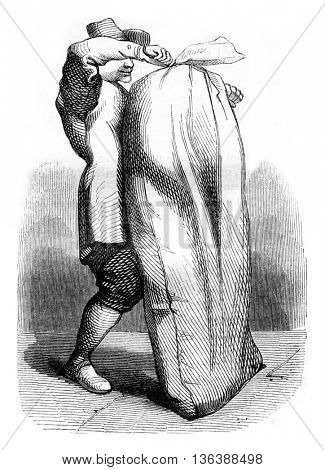 The Minion in the bag, vintage engraved illustration. Magasin Pittoresque 1843.