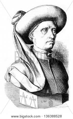 Henry the Navigator, vintage engraved illustration. Magasin Pittoresque 1843.