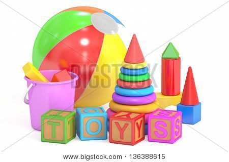 Kids toys concept 3D rendering isolated on white background