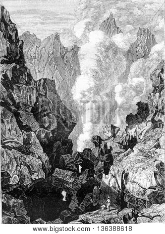 La Soufriere volcano in Guadeloupe, vintage engraved illustration. Magasin Pittoresque 1843.