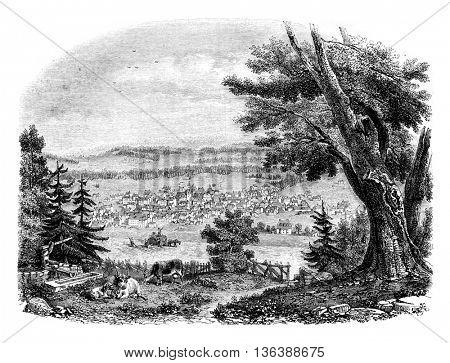 View of Chaux de Fonds, vintage engraved illustration. Magasin Pittoresque 1852.