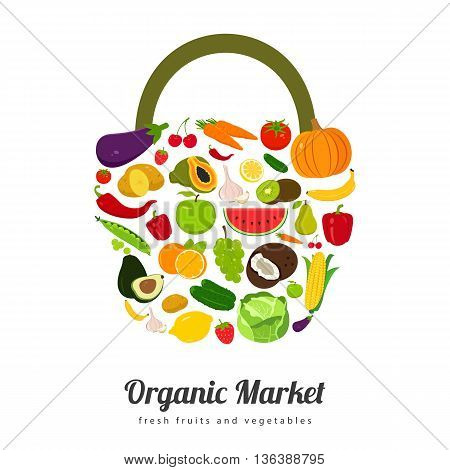 Basket with fruits and vegetables icons. Vector illustration