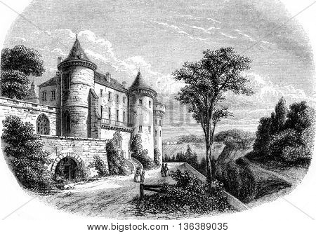 View from Castle Chastellux, vintage engraved illustration. Magasin Pittoresque 1852.