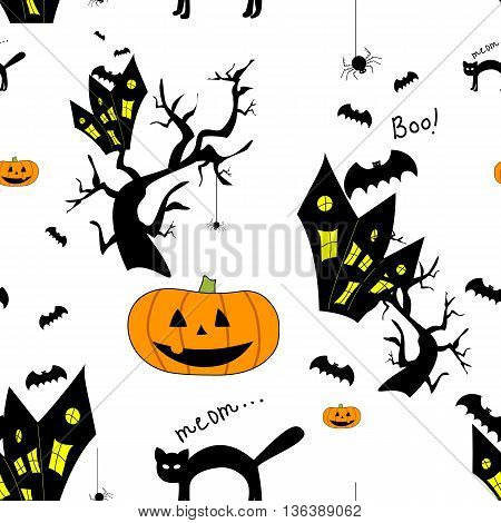 Funny halloween background with animals and Jack-o-lantern. Print for children. Seamless pattern for kids