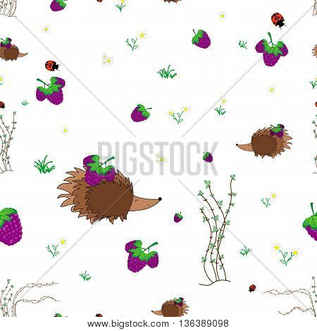 Blackberry meadow with animals seamless pattern. Forest background for kids. Print for children
