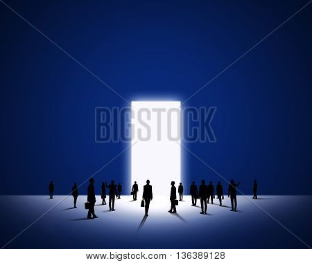 Large group of business people and big door entrance