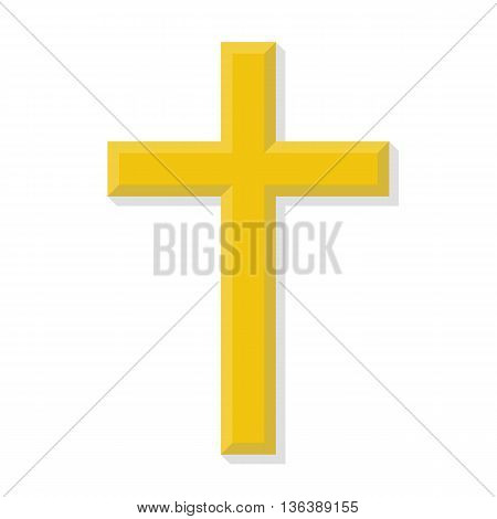 Cross religious isolated on white background. Vector illustration. Icon in flat style with shadow.