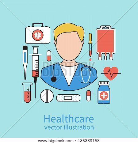 Icon doctor. Medical concept. Vector illustration flat design style. Medicine background. Concept of health. Emergency doctor with medical equipment.