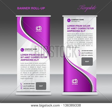 Purple and White Roll up banner stand template advertisement template for business