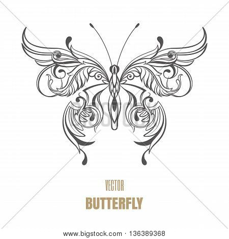 Outline vector butterfly. Decorative ornament wings. Art object.
