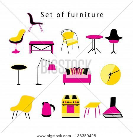 Graphic set of furniture and objects in everyday life on a white background