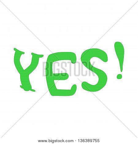Yes inscription icon in cartoon style isolated on white background