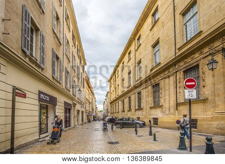 People Walking In Old Town Of  Aix En Provence