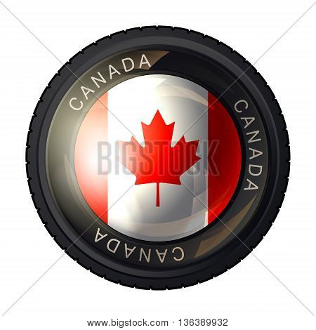 Canada flag icon. Flag of Canada in a camera lens on white background. Vector illustration.