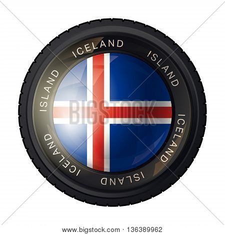 Iceland flag icon. Flag of Iceland in a camera lens on white background. Vector illustration.
