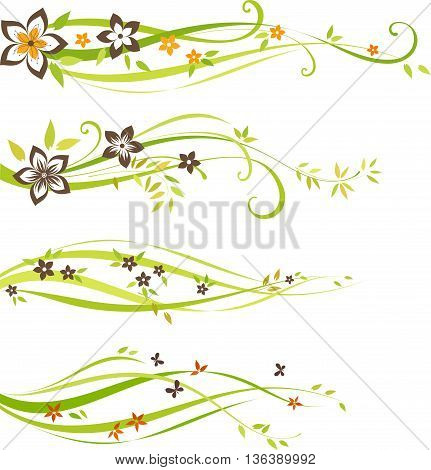 Four individual scroll design with flowers and leaves. As well in vertical.