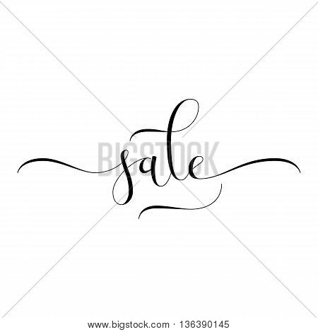 Sale hand lettering, modern calligraphy style. Black hand-drawn letters isolated on white background. Vector illustration.