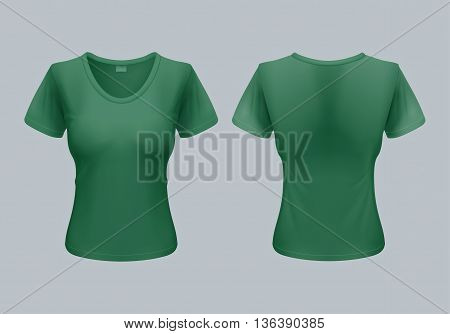 Women T-Shirt Template Back and Front Views in Green Color