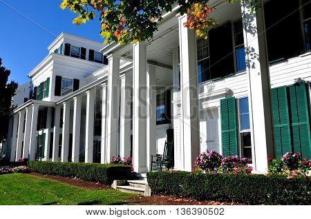 Manchester Village Vermont - September 19 2014: The Greek Revival luxury Equinox Hotel and Resort is a village landmark established in 1769