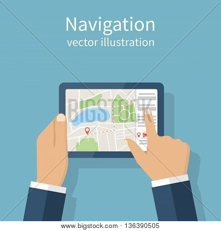 Navigation concept. Man holding the navigation device in hands. Route on map. Vector illustration flat design. GPS mobile device.