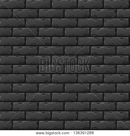 Old Black Brick Wall Seamless Pattern for Continuous Replicate