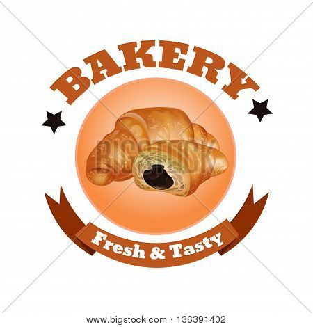 Bakery Shop Label Design. Fresh and Tasty Desserts. Croissant Ribbons and Stars. Vector Illustration.