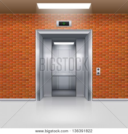 Half Open Metal Elevator Door in a Brick Wall