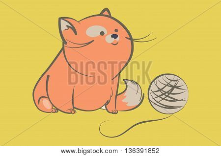 fat red cat with a fluffy tail sitting and playfully looks at a ball of yarn